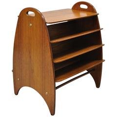 Midcentury Danish Modern Teak Wood Magazine Rack Book Stand Bookcase Side Table