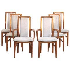 Mid-Century Danish Modern Teak Wood Upholstered Dining Chairs, Set of 6