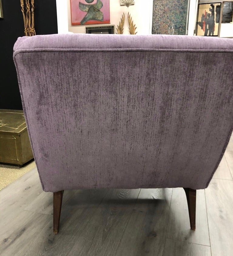 Fabric Midcentury Danish Modern Tufted Lounge Chair Newly Upholstered