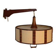 Mid Century Danish Modern Wall Mount Hanging Lamp Swing Arm