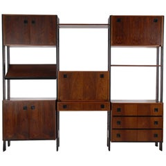 Mid Century Danish Modern Wall Unit or Shelving Unit in Rosewood with Desk