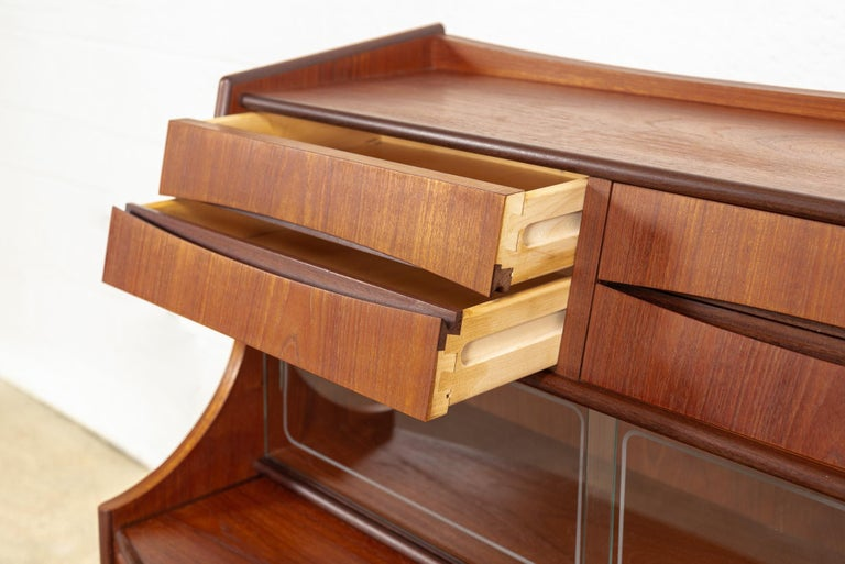 Midcentury Danish Modern Walnut Wood Two-Toned Secretary Desk or Bar Cabinet For Sale 1