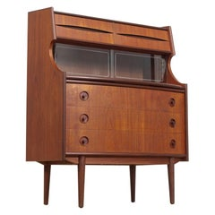 Midcentury Danish Modern Walnut Wood Two-Toned Secretary Desk or Bar Cabinet