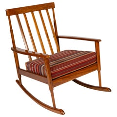 Midcentury Danish Rocking Chair Upholstered in Paul Smith Fabric