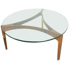 Midcentury Danish Rosewood and Glass Circular Coffee Table by Sven Ellekaer