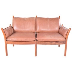 Midcentury Danish Rosewood and Leather Sofa by Illum Wikkelsø for CFC Silkeborg