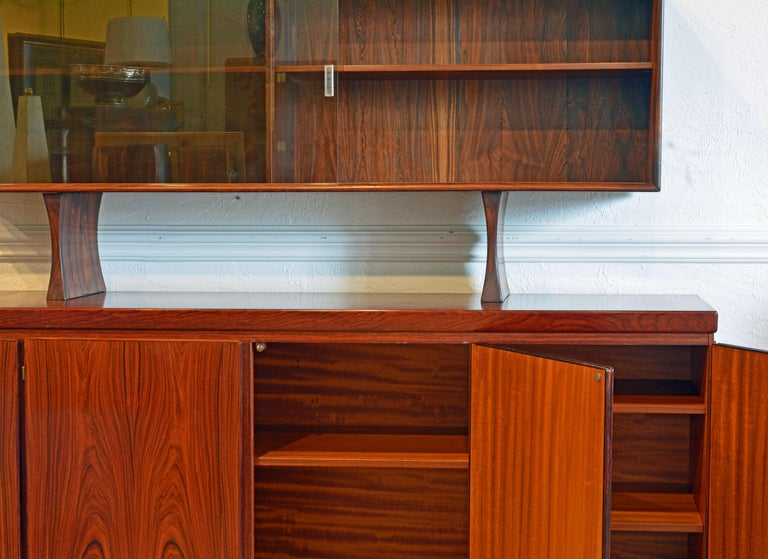 Mid-Century Modern Midcentury Danish Rosewood Credenza and Hutch Cabinet by Skovby Furniture For Sale