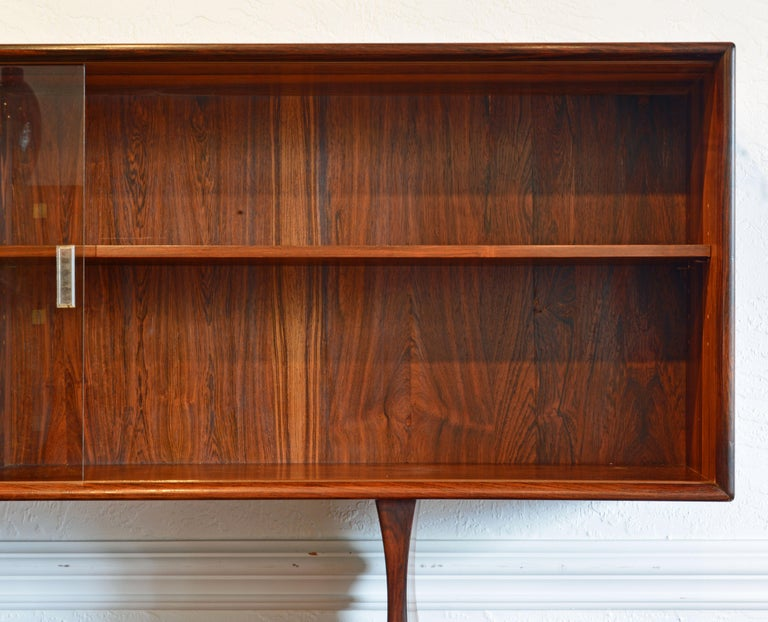 Veneer Midcentury Danish Rosewood Credenza and Hutch Cabinet by Skovby Furniture For Sale