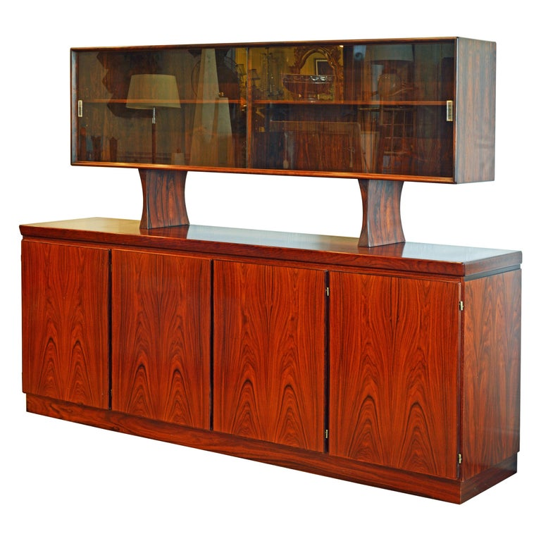 Midcentury Danish Rosewood Credenza and Hutch Cabinet by Skovby Furniture