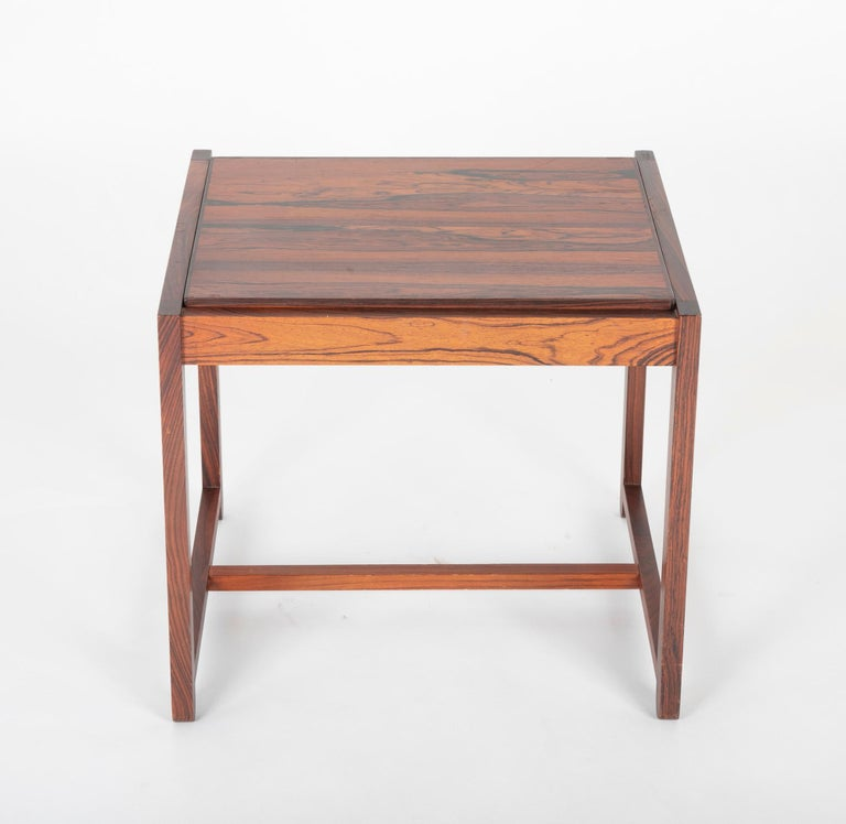 Mid-Century Modern Mid Century Danish Rosewood Flip-Top Side Table and Stool For Sale