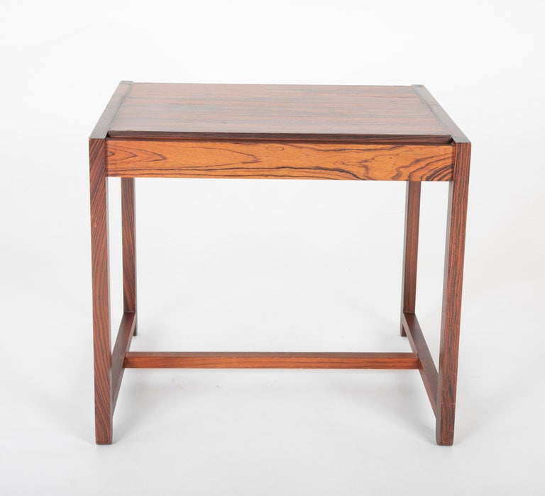 Mid Century Danish Rosewood Flip-Top Side Table and Stool In Good Condition For Sale In Stamford, CT