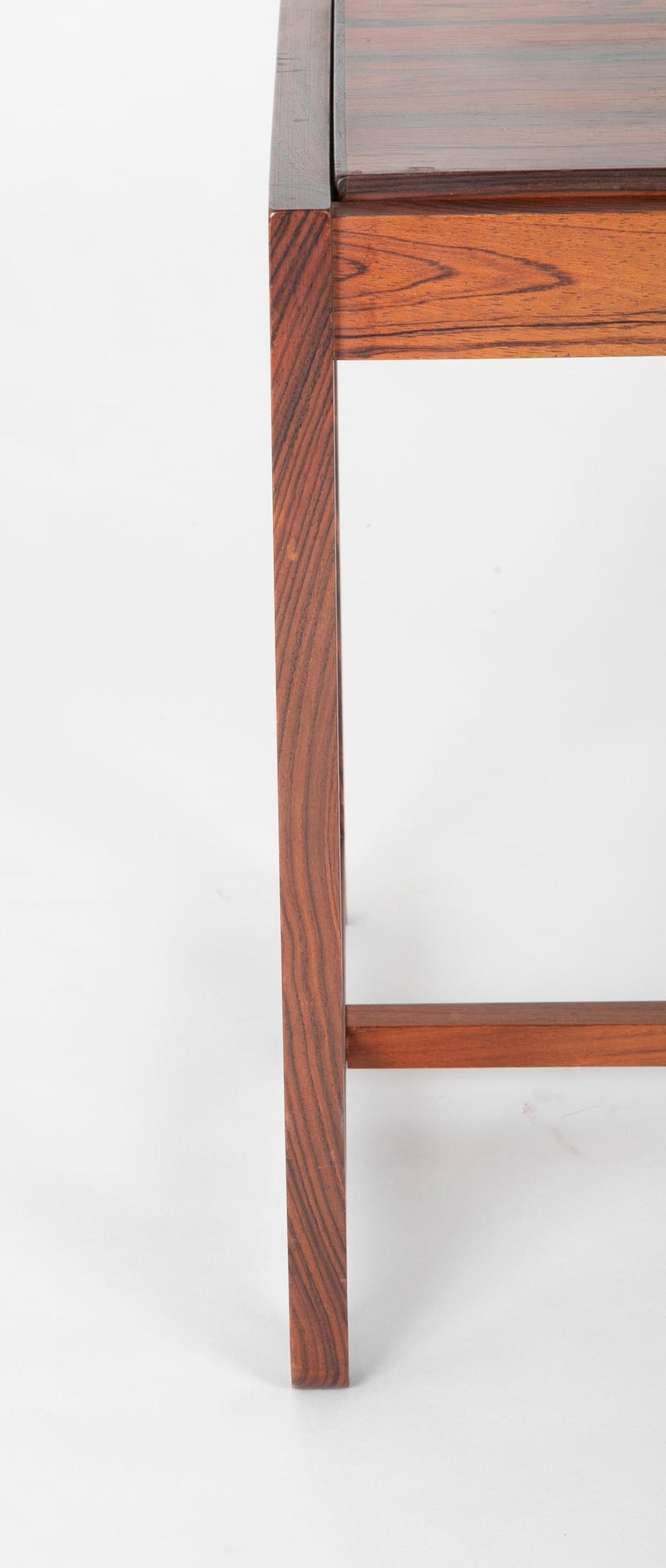 20th Century Mid Century Danish Rosewood Flip-Top Side Table and Stool For Sale