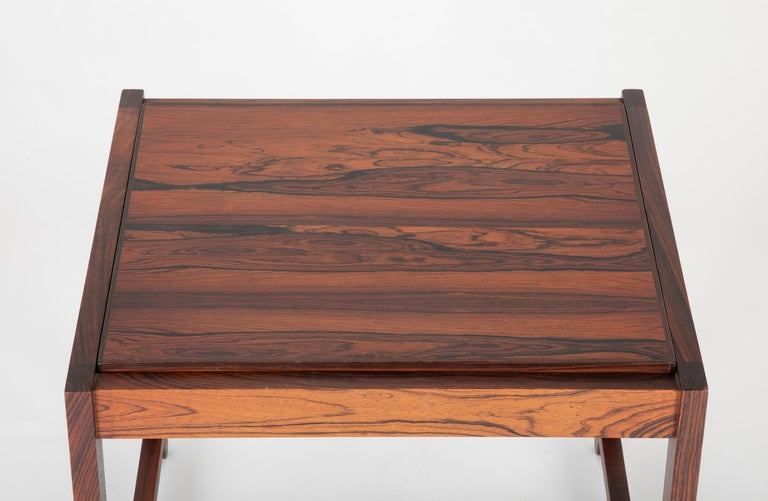 Mid Century Danish Rosewood Flip-Top Side Table and Stool For Sale 1