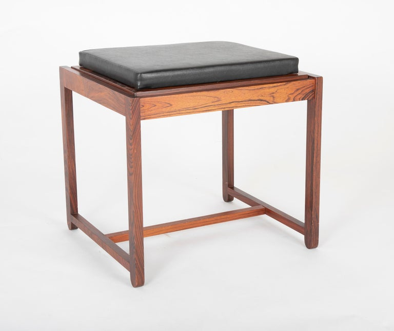 Mid Century Danish Rosewood Flip-Top Side Table and Stool For Sale 2