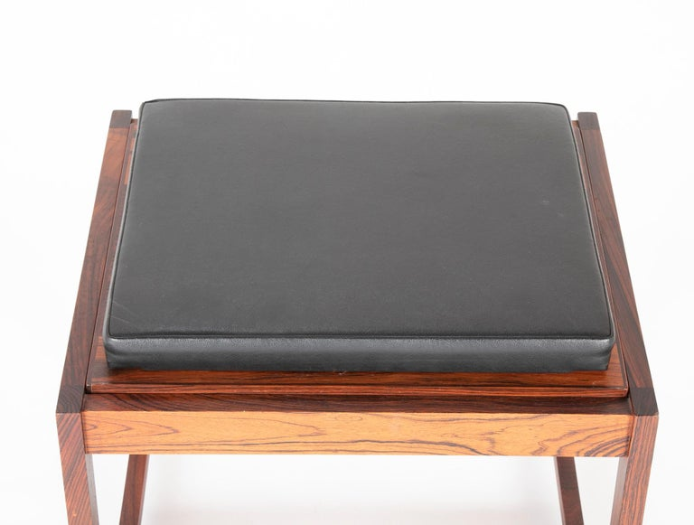Mid Century Danish Rosewood Flip-Top Side Table and Stool For Sale 3