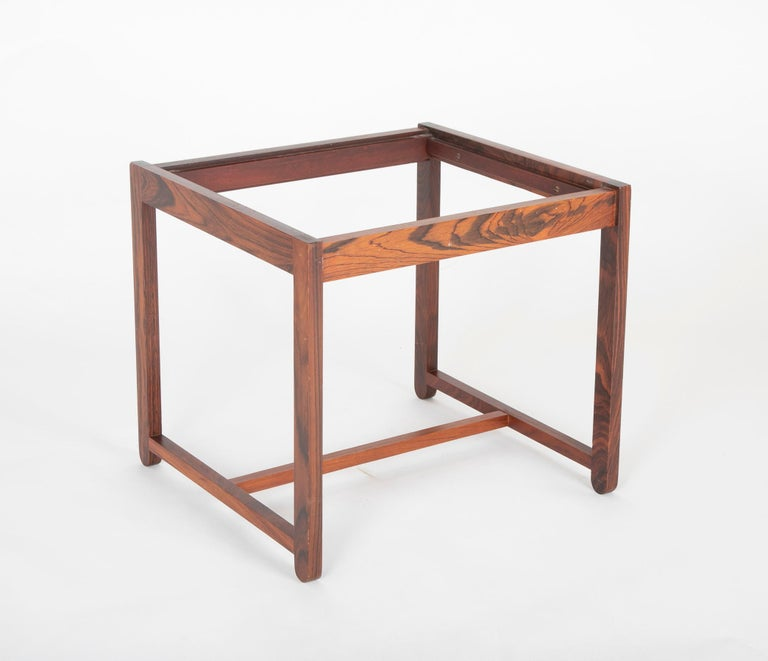 Mid Century Danish Rosewood Flip-Top Side Table and Stool For Sale 4