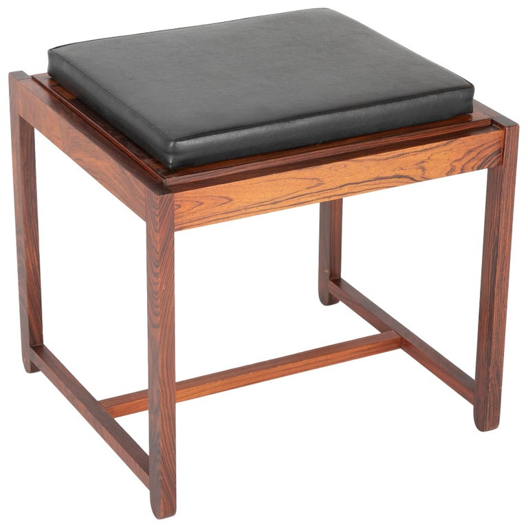 Mid Century Danish Rosewood Flip-Top Side Table and Stool For Sale