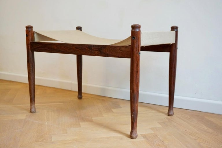 Midcentury Danish Rosewood Safari Footstool, Erik Wort for Niels Eilersen, 1960s For Sale 4