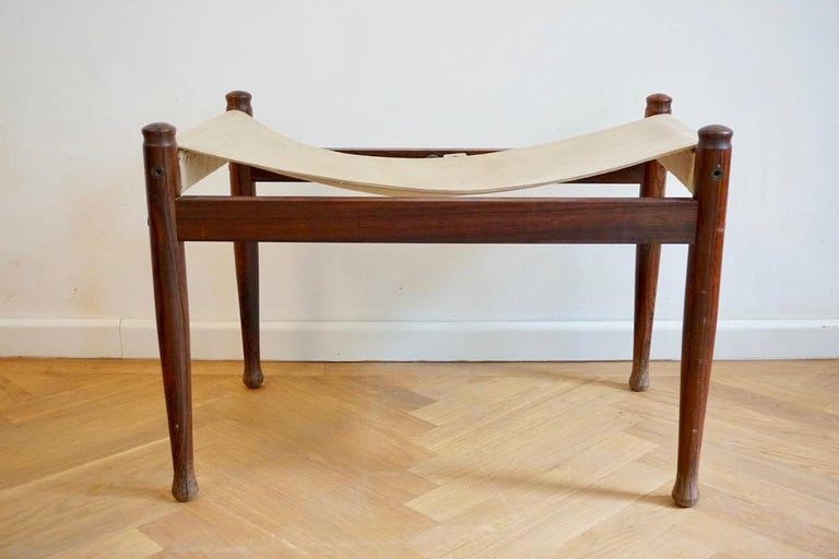 Midcentury Danish Rosewood Safari Footstool, Erik Wort for Niels Eilersen, 1960s For Sale 7