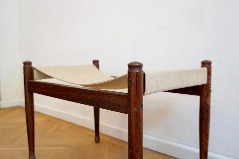 Midcentury Danish Rosewood Safari Footstool, Erik Wort for Niels Eilersen, 1960s For Sale 8