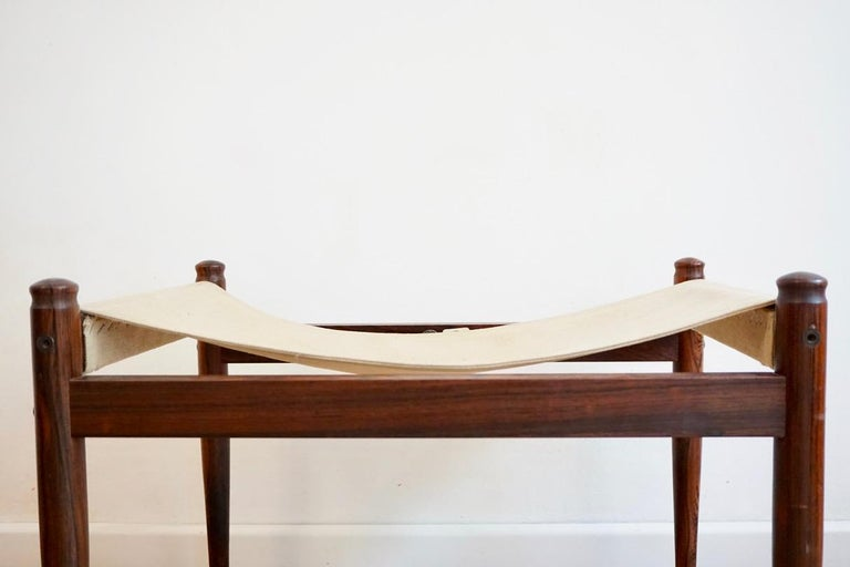 Midcentury Danish rosewood safari footstool by Erik Wort for Niels Eilersen, 1960s