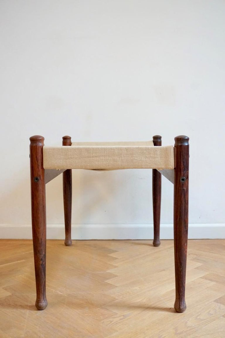 Palisander Midcentury Danish Rosewood Safari Footstool, Erik Wort for Niels Eilersen, 1960s For Sale