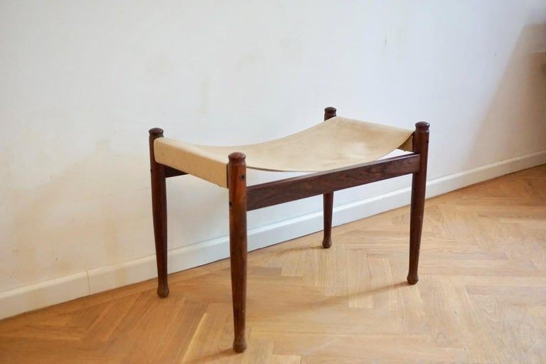Midcentury Danish Rosewood Safari Footstool, Erik Wort for Niels Eilersen, 1960s For Sale 3