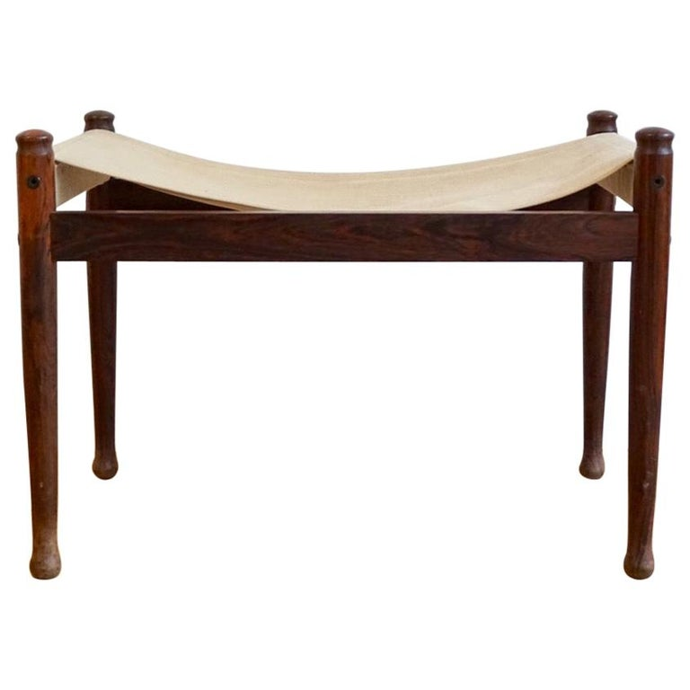 Midcentury Danish Rosewood Safari Footstool, Erik Wort for Niels Eilersen, 1960s For Sale