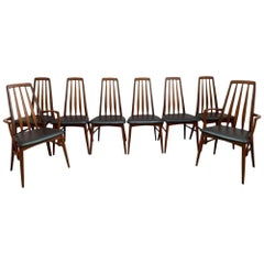 Mid Century Danish Set of 8 Teak 'Eva' Chairs by Niels Koefoed, 20th Century