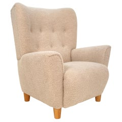 Mid Century Danish Shearling High Back Wing Chair / Armchair, Around 1970s