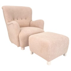 Mid Century Danish Shearling High Back Wing Chair / Armchair Pouf, Around 1950s