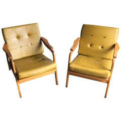 Midcentury Danish Style Wooden Lounge Armchairs, 1960s