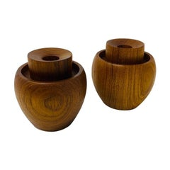 Mid Century Danish Teak Candle Holders