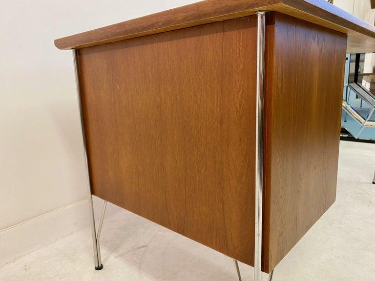 Midcentury Danish Teak Desk on Chrome Hairpin Legs 5