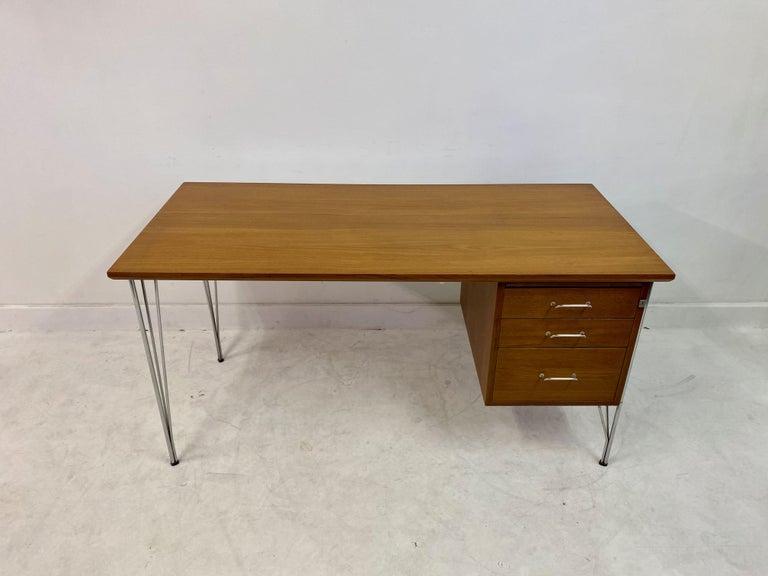 Mid-Century Modern Midcentury Danish Teak Desk on Chrome Hairpin Legs