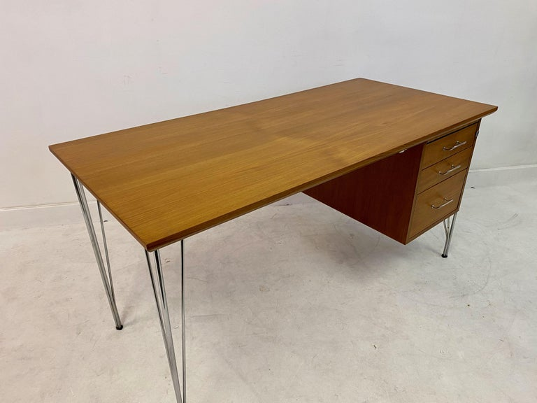 Midcentury Danish Teak Desk on Chrome Hairpin Legs 1