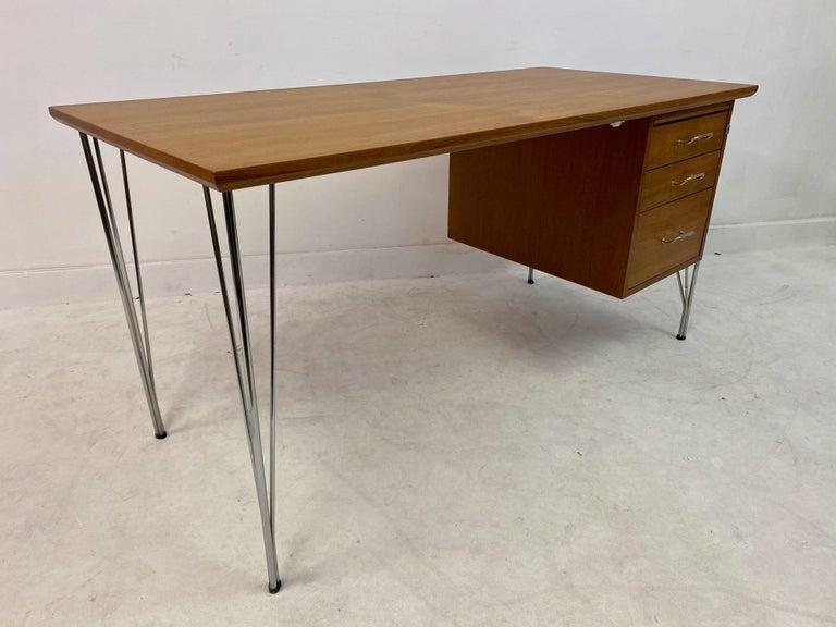 Midcentury Danish Teak Desk on Chrome Hairpin Legs 2