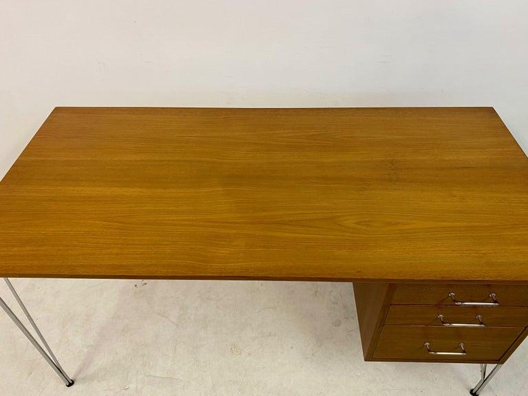 Midcentury Danish Teak Desk on Chrome Hairpin Legs 3