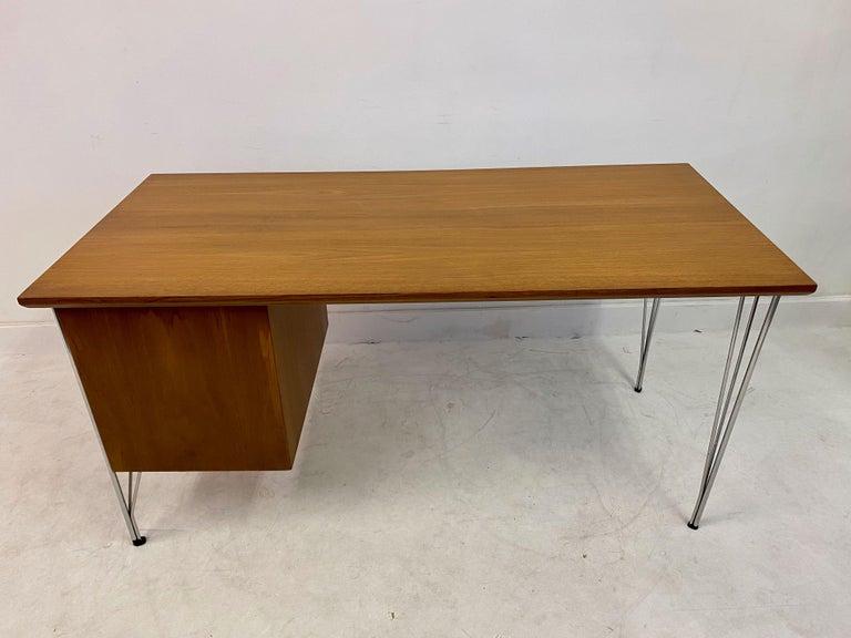 Midcentury Danish Teak Desk on Chrome Hairpin Legs 4