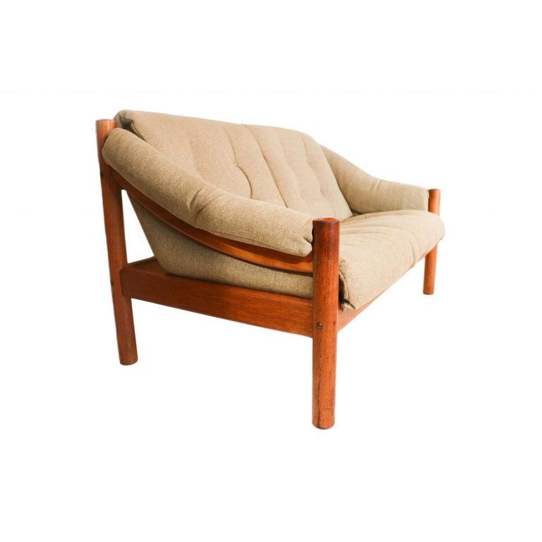 Midcentury Danish Teak Domino Møbler Loveseat Sofa In Good Condition In Baltimore, MD