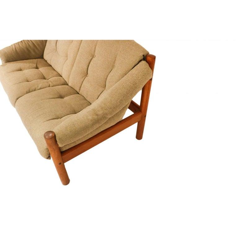 Upholstery Midcentury Danish Teak Domino Møbler Loveseat Sofa