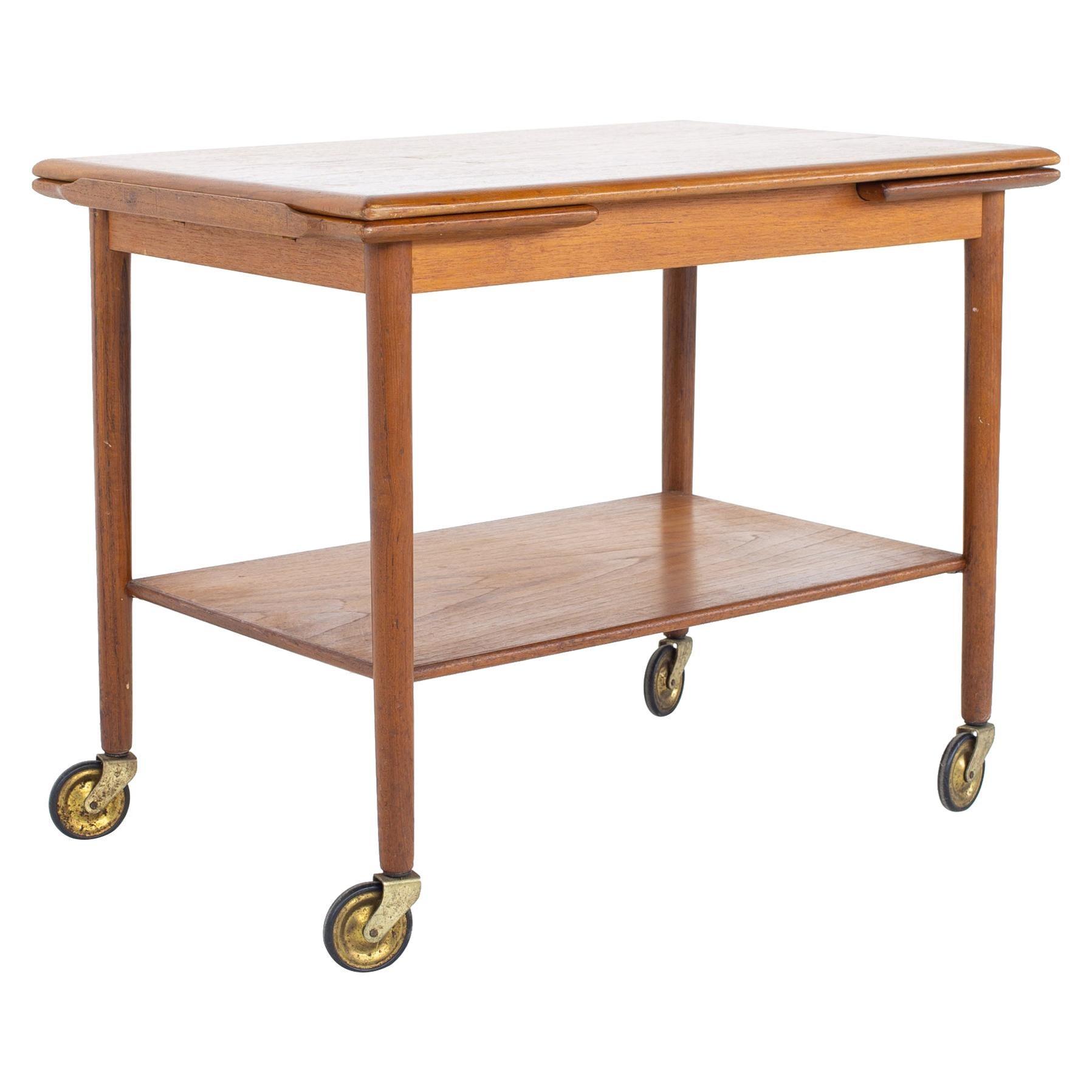 Mid Century Danish Teak Expanding Bar Cart