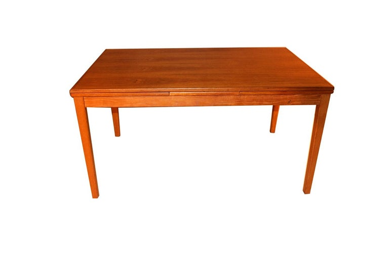 Midcentury Danish Teak Extendable Dining Table For Sale 1