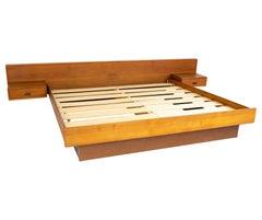 Mid Century Danish Teak Floating Nightstand King Size Bed