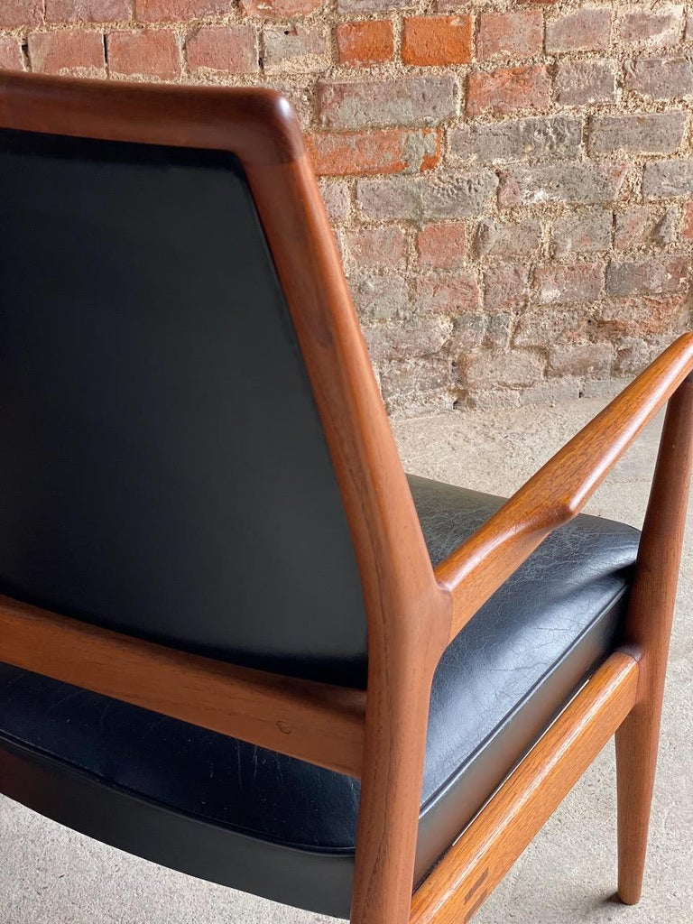 Midcentury Danish Teak and Leather Desk Chairs Armchairs, circa 1960s For Sale 5