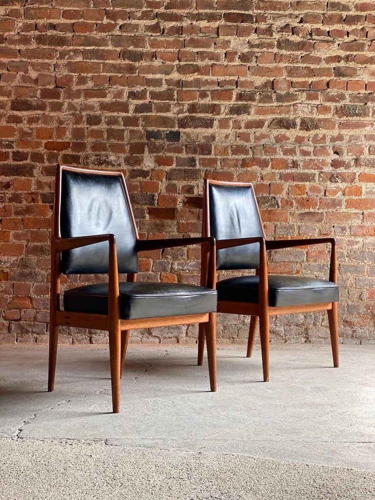 Midcentury Danish Teak and Leather Desk Chairs Armchairs, circa 1960s For Sale 6