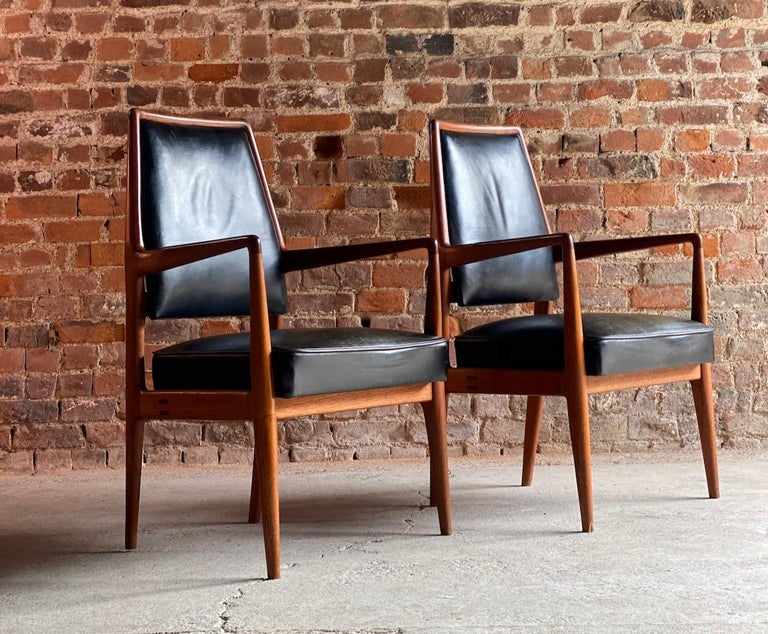 Midcentury Danish Teak and Leather Desk Chairs Armchairs, circa 1960s For Sale 8