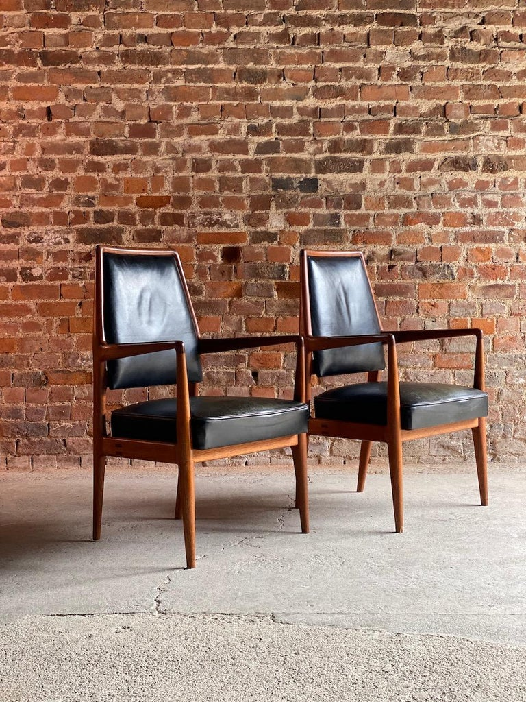 Midcentury Danish Teak and Leather Desk Chairs Armchairs, circa 1960s For Sale 9