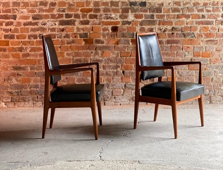 Mid-Century Modern Midcentury Danish Teak and Leather Desk Chairs Armchairs, circa 1960s For Sale
