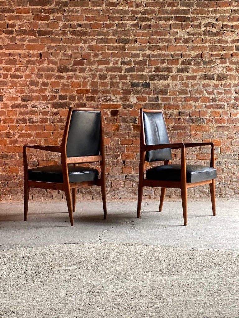 Mid-20th Century Midcentury Danish Teak and Leather Desk Chairs Armchairs, circa 1960s For Sale